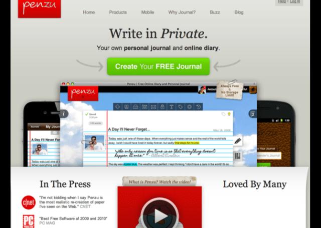 image: Penzu best blog site to create a free blogs