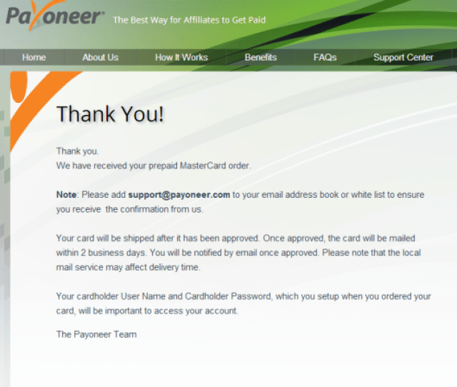 How To Create Payoneer Master Card Account