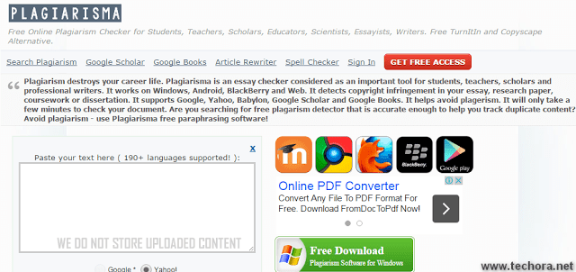 Plagiarisma Free Online Plagiarism Checker tools