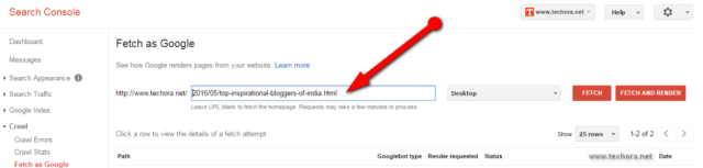 fetch as google Submit Site URL To Google & Index Quickly google webmaster tool
