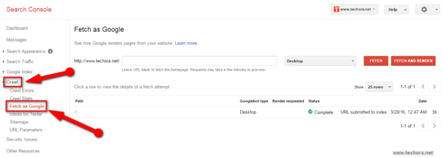 fetch as google Submit Site URL To Google & Index Quickly