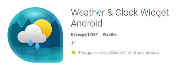 Weather Clock Widget the cool android app for android user