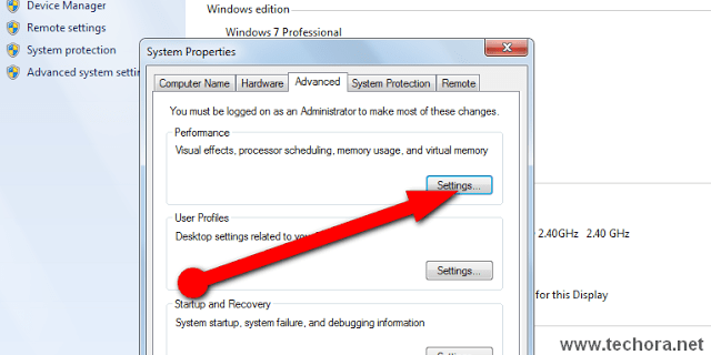 image of advanced system setting for speed up window
