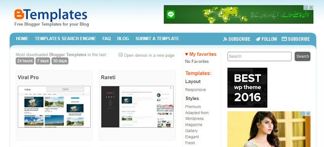image of BTemplates the best website to download free blogger templates