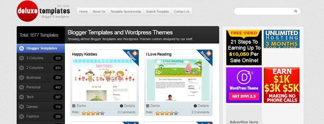 image of Deluxetemplates the best website to download free blogger templates