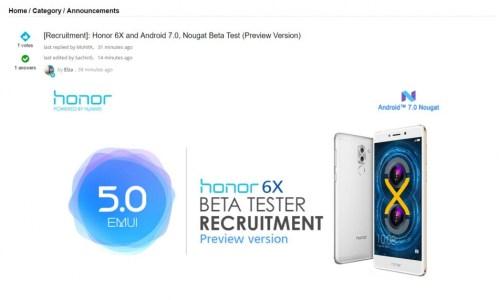 Huawei Honor 6X EMUI 5.0 (Nougat-based) Beta Program