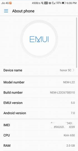 B310 EMUI 5.0 Honor 5C Nougat ROM With Vo-LTE