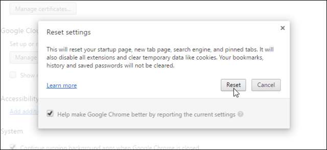 Defaulting the Settings on Chrome