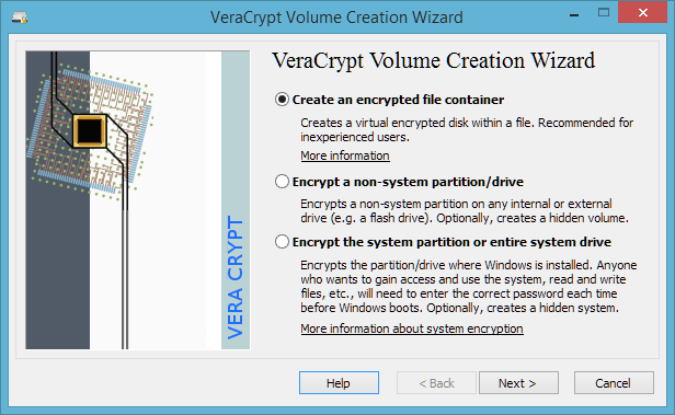 Create an encrypted file container in VeraCrpypt