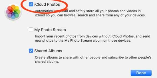 Choose iCloud Photos