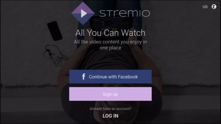 Sign up for Stremio