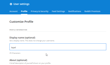 Change Reddit Display Name