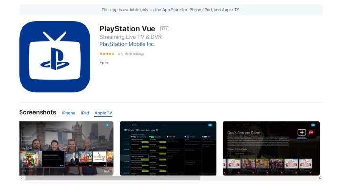 PlayStation Vue on Apple TV