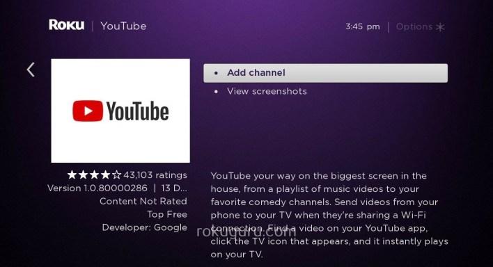 Add YouTube on Roku