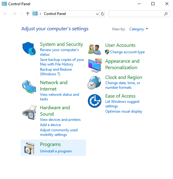 Click on Uninstall apps on Windows