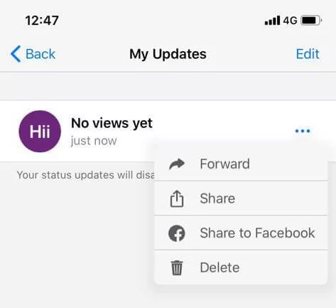 Delete WhatsApp Status on iOS