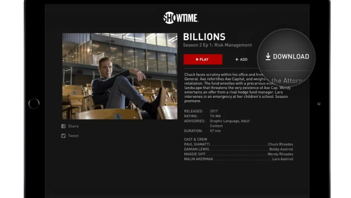 download programs on SHOWTIME