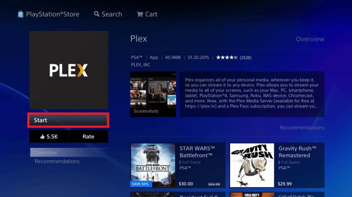 Open Plex on PS4