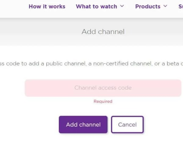 Provide Channel Access Code: add private channels to roku