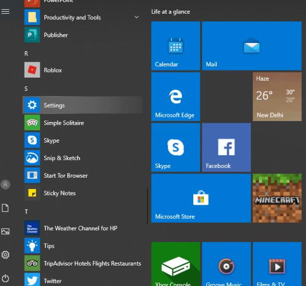 Select Settings - Windows 10 Dark Mode