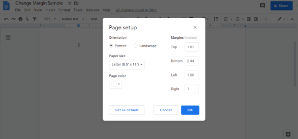 Set Margin and click on OK - How to Change Margins In Google Docs
