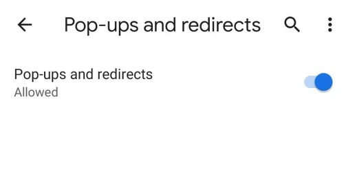 Pop-Ups and redirects toggle