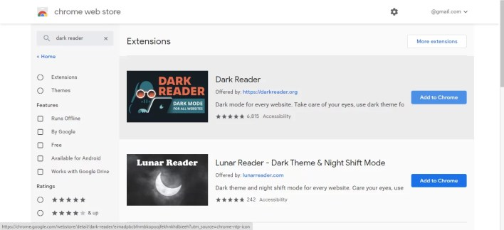 Dark reader extension