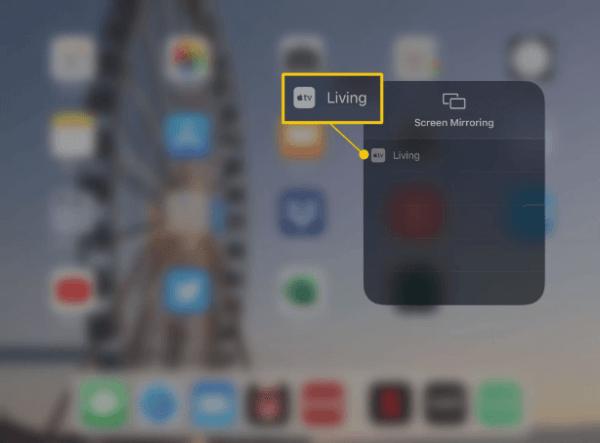 Choose the Device - AirPlay on iPad