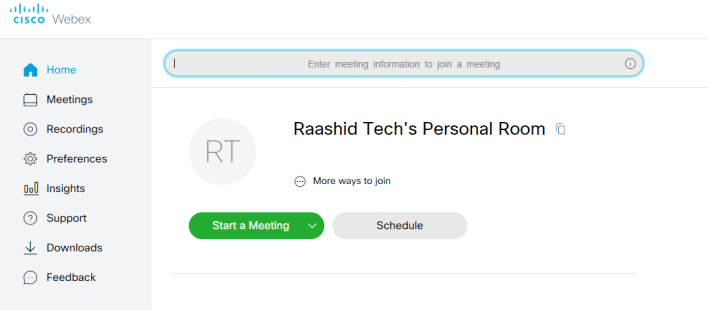 Join Meeting on Cisco Webex