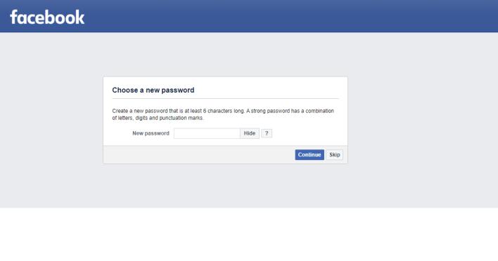 Provide New Password - Reset Password on Facebook