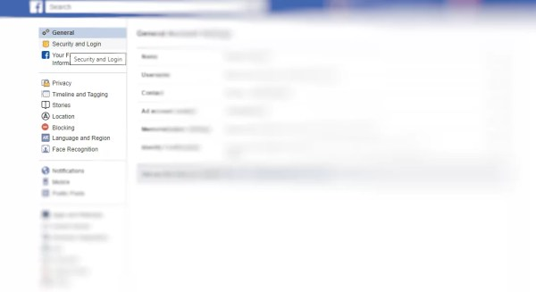 Select Security and Login - Change Password On Facebook