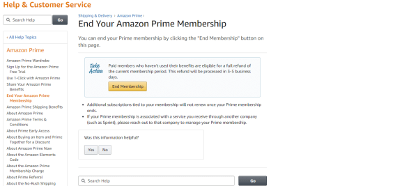 Tap on End Membership - How to Cancel Amazon Prime