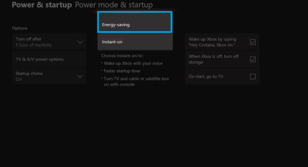 Choose Energy Saving mode-Xbox One Turns On by Itself