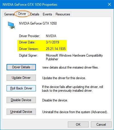 Click on Roll Back Driver-How to Rollback Nvidia Drivers