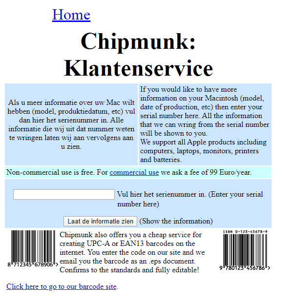 Chipmuck Klantenservice