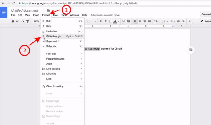 Strikethrough in Word document
