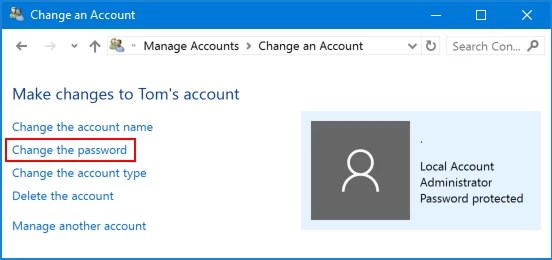 Change Password in Windows 10