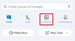 Click on contacts