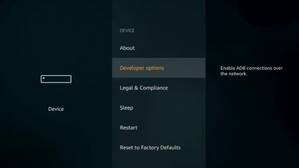 Choose Developer Options