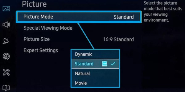 Choose Picture Mode-Best Picture Settings for Samsung Smart TV