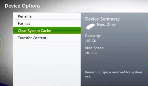 Clear Cache on Xbox 360