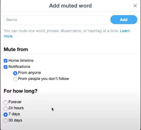 Mute Words on Twitter