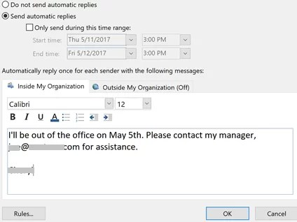 Send Auto Reply-How to Set Out of Office in Outlook