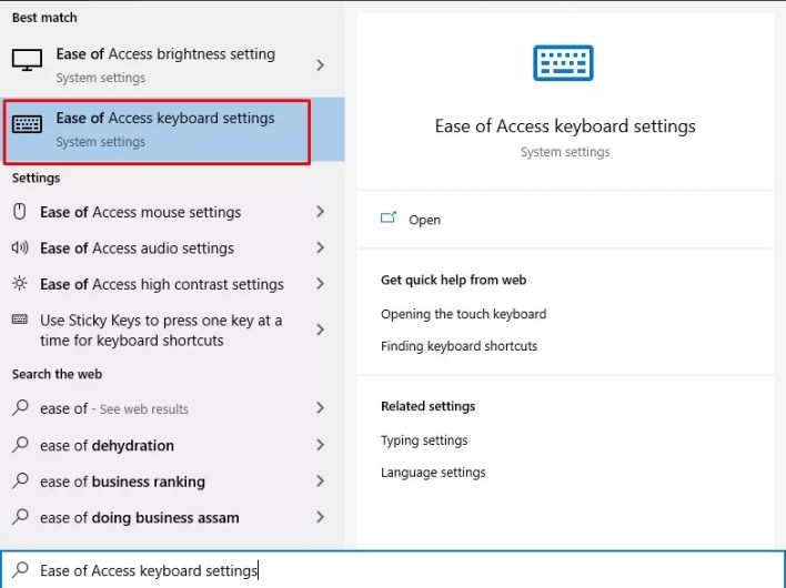 Ease of access keyboard settings