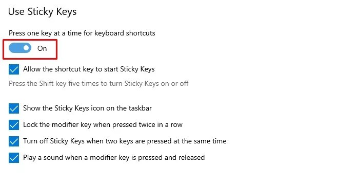 How to Turn off Sticky Keys on Windows 10