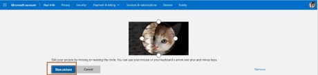 New picture selection to Change Profile Picture on Outlook