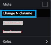 Choose Change Nickname