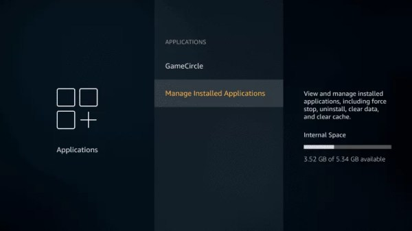 Choose Manage Installed Applications