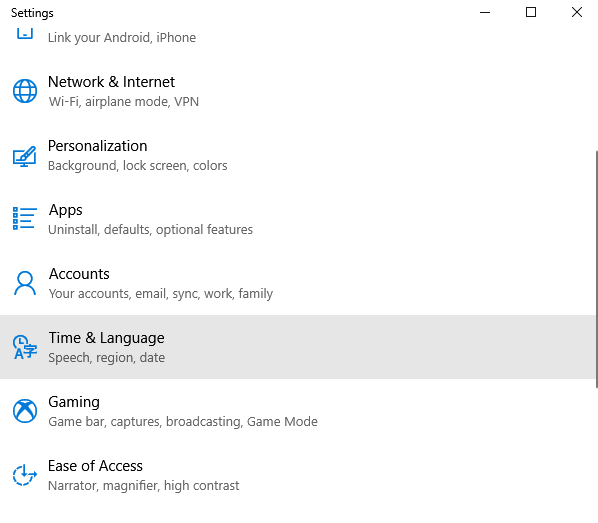 Choose Time and Language to Change Language on Windows