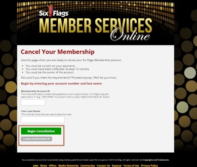 Login to Cancel Six Flags Membership
